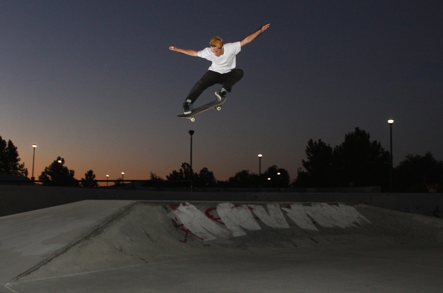 Allen Chou ollies the table at Mira Loma photo Volland
