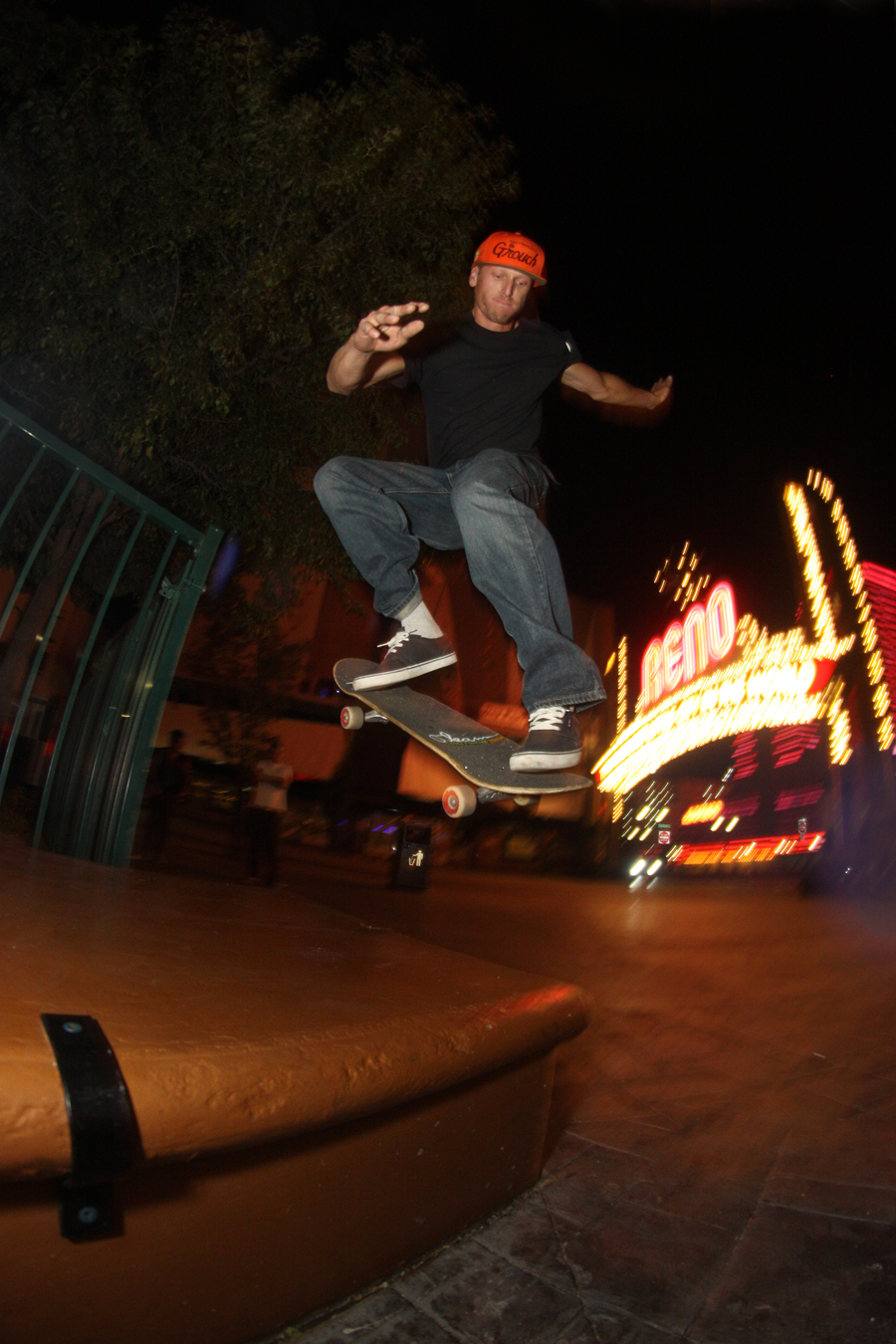 Colin Grover frontside half cab downtown Reno photo Volland