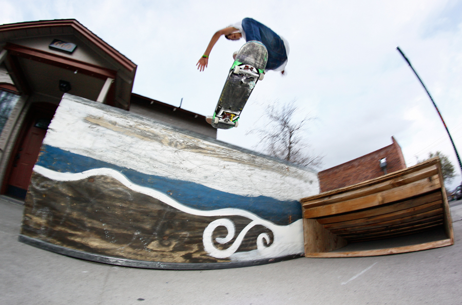 Marcos Brenes tailslide outside of Canvas Gallery photo Volland