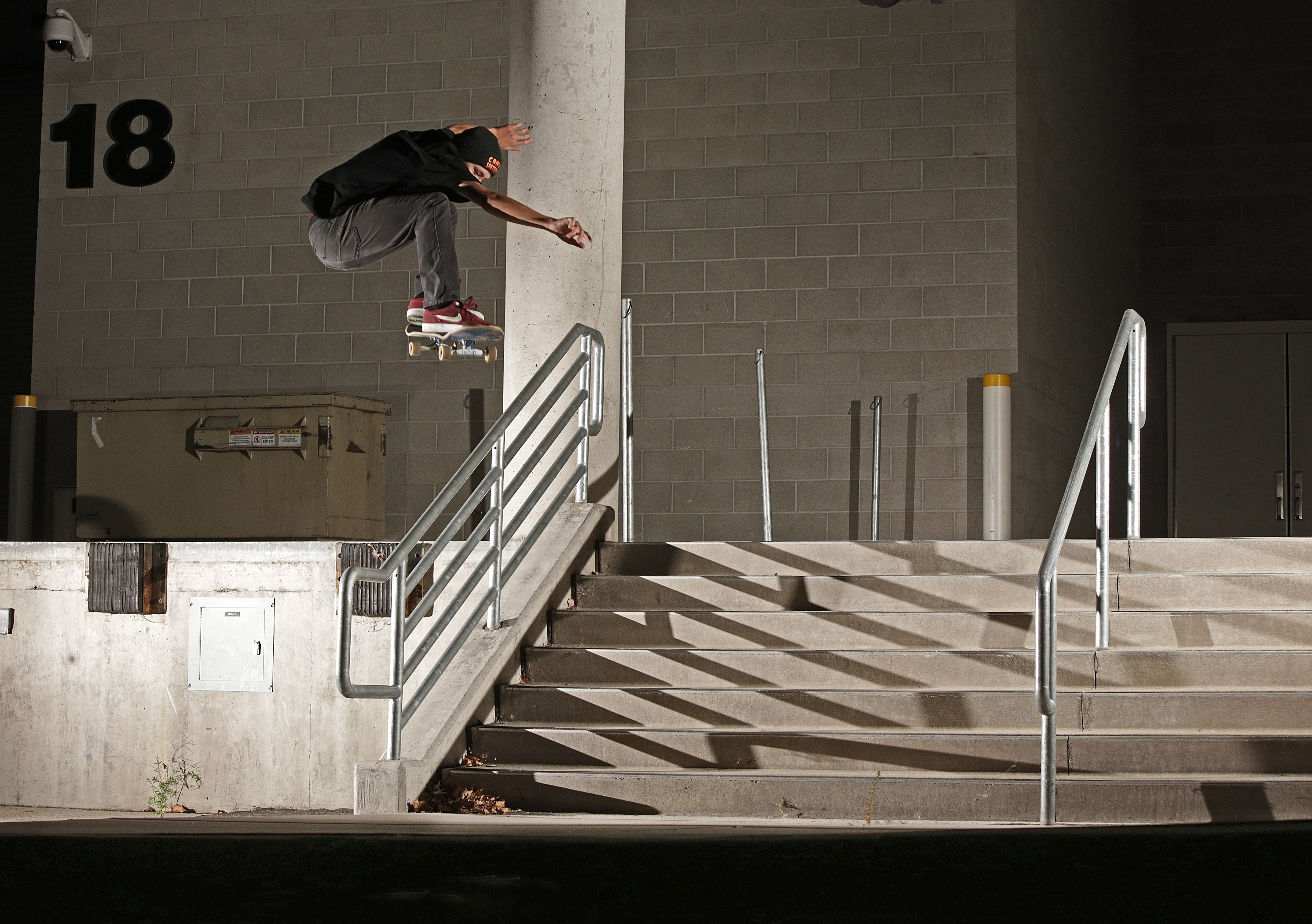Quick set up, DePaul Madigan ollies this rail just before getting the boot. photo Volland