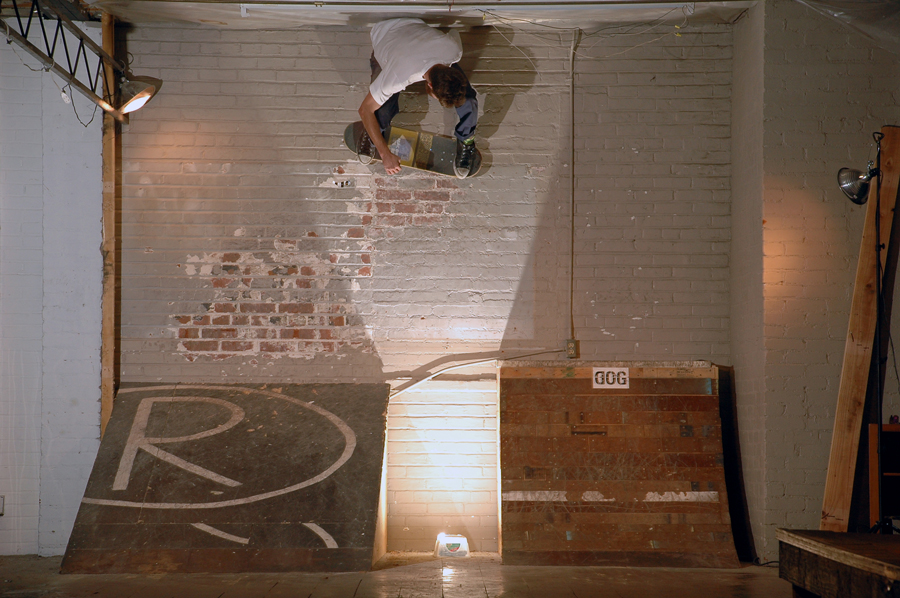 You ever see a dude with a Mac Dre cd stuck under a sheet of clear griptape do an alley-oop wallride transfer over a glowing tupperware box? Watch yer head Mitch. Photo Dane Haman